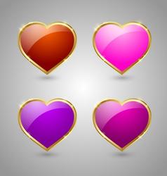 Glossy hearts vector