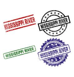 Grunge textured mississippi river stamp seals vector