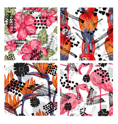 grunge tropical seamless pattern vector image