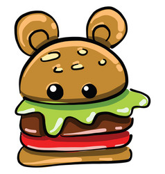 hamburger with ears on white background vector image