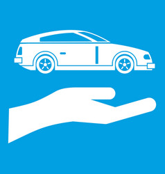 Hand and car icon white vector
