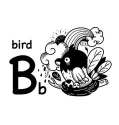 Hand drawnalphabet letter b-bird vector