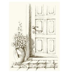 House entry door slightly open flower pot vector
