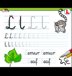 How to write letter l workbook for children vector