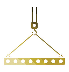 icon of slab hanged on crane hook by rope slings vector image