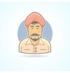 Indian Hindustani man in traditional turban icon vector image