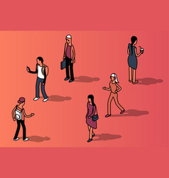 Isometric set of faceless people in casual vector