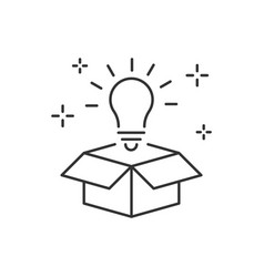 Lightbulb from box line icon think outside box vector