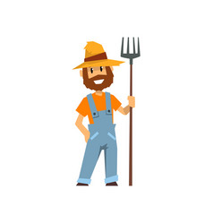 male farmer with pitchfork farm worker with vector image