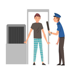 man passing through security scanner for checking vector image