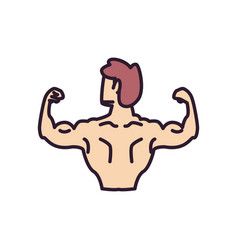 Man with muscles backwards line and fill style vector