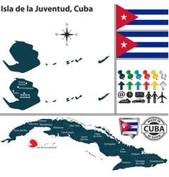 map isla de la juventud cuba vector image