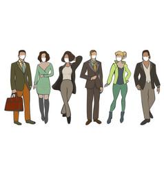 men and women wearing mask vector image