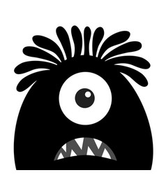 Monster head black silhouette one eye hair teeth vector
