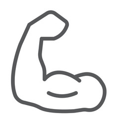 muscle line icon bodybuilding and sport power vector image