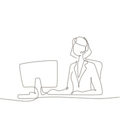 office worker - one line design style vector image