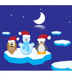owl penguin and snowman vector image