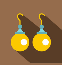 Pair of earrings with pearls icon flat style vector