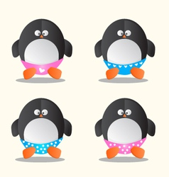 Penguin in different underwear cartoon vector