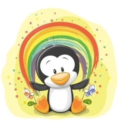Penguin with rainbow vector