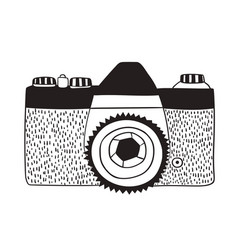 photo camera in doodle style isolated on white vector image