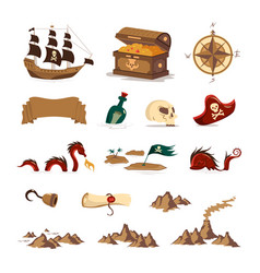 pirate treasure set vector image