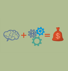 profit and investment concept brains plus gears vector image