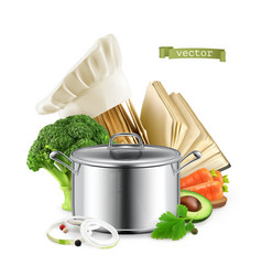 recipe book cooking 3d realistic food vector image