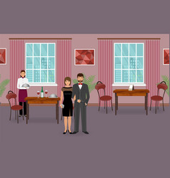 restaurant interior with couple of visitors and vector image