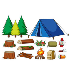 Set camping items isolated vector