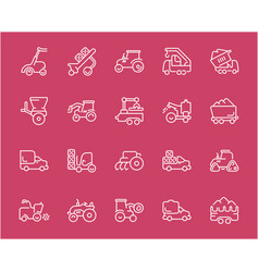 Set line icons agricultural machinery vector