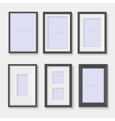 Set of black photo frames on the wall vector image vector image
