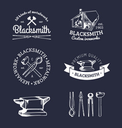Set of hand sketched blacksmith logos vector