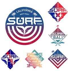 Set of vintage surfing logo with gradients design vector image