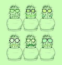 set with cartoon cactus in glasses with a mustache vector image