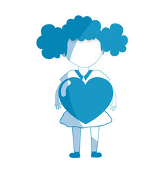silhouette pretty girl with heart in the hand and vector image