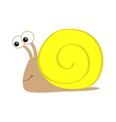 Snail icon yellow shell house cute cartoon kawaii vector