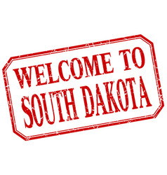 South dakota - welcome red vintage isolated label vector