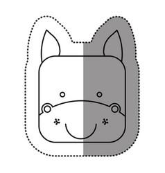 Sticker cute horse animal head expression vector
