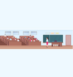 Students sitting at desks and listening teacher in vector