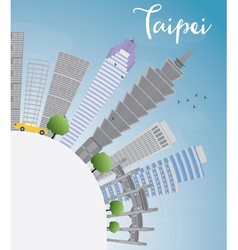 Taipei skyline with grey landmarks vector