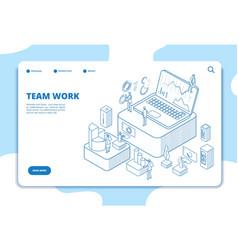 teamwork landing page people working vector image