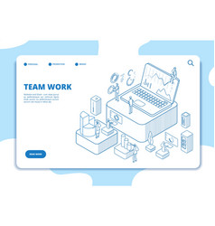 teamwork landing page people working with vector image