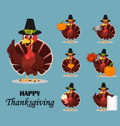 Thanksgiving turkey bird wearing a pilgrim hat vector