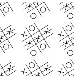 Tic-tac-toe competition seamless pattern hand vector