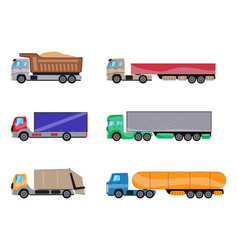 trailer trucks side view icon set isolated on vector image