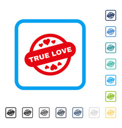 true love stamp seal framed icon vector image