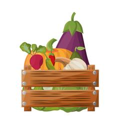 Vegetables wooden box vector