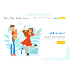 vet services landing page template veterinarian vector image