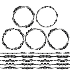 Vintage floral elements black on white background vector image